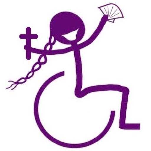Logo, gestileerd plaatje van vrolijke rolstoelster (ik) met kruis en schelp in de hand