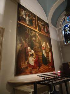in Amsterdam nog even bij het begijnhof geweest, helaas was de priester daar afwezig (vakantie) en wist niemand waar de stempel was. toch een mooie foto van het schilderij over het mirakel van Amsterdam in 1345.