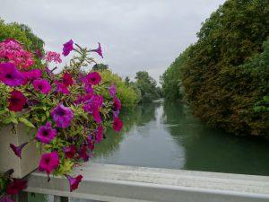 Mery-sur-Seine naar Troyes kanaal bloemen op de brug