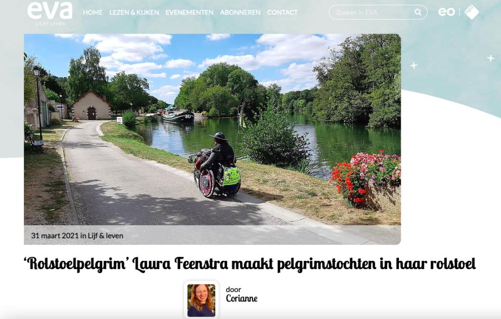 artikel eva als afbeelding, foto van mij in rolstoel langs het kanaal